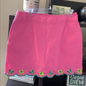 Lilly Pulitzer Pink Butterfly Flower Trim Skirt 10